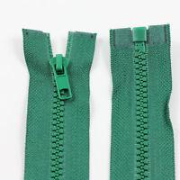 GREEN 10'' - 32'' INCH CHUNKY NO.5 OPEN END ZIPS: 12 SIZES PLASTIC ZIPPER NZ1269