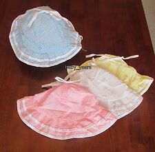 BABY GIRLS SUN HAT WITH CHIN STRAP SUMMER BEACH HOLIDAY WHITE LEMON PINK BLUE