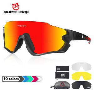 Cycling Sunglasses Bike Glassess Goggles 4 Lens UV400 Polarized HD Mirrored