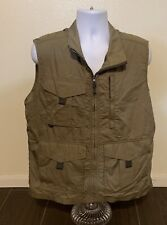 Clearwater Vest Men Size Large Green Fishing Hunting Zip Up Cotton Nylon Blend