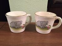 Vintage USA Gray Elephant & Child Stoneware Mug With Handle