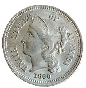 1869 Three Cent Nickel, Nice BU++. Full luster