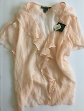 Lauren by Ralph Lauren Moreton Hall Bashful Pink Silk Women's Size 14 Blouse