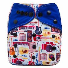 """HappyEndings Bamboo Charcoal AI2 (all in two)Diaper w 5 layer insert """"Rock Star"""""""