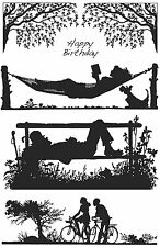 Unmounted rubber stamp sheet Silhouette Sunday Morning - SA-5014