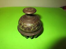 Vintage Etched Brass Elephant Temple Claw Bell Floral Prayer 13 Finger (PS6)