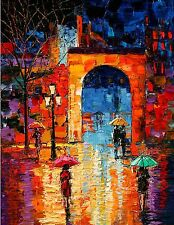 ANDRE DLUHOS City night lights rain reflection umbrellas limited edition . PRINT