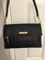 NWT Michael Kors Black Pebble Leather JANE Medium Messenger Bag Purse/$278