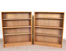 1 of 2 Vintage Teak Glazed Bookcase Sideboard Record Cupboard Retro MCM