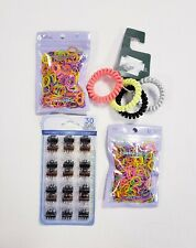 Lot of Hair Accessories Mini Clips & Rubber Bands Spiral Ties New Free Shipping