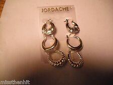 New Jordache Silvertone Hoop Earrings- 3 Pair