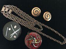 Vintage Costume Jewelry Lot COPPER Enamel Retro Brooch Pin Earrings
