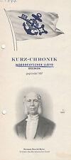 Norddeutscher Lloyd Bremen 1965 Prospekt Folder Kurz Chronik  Flottenverzeichnis