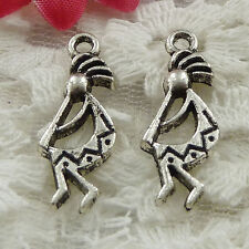 Free Ship 100 pieces Antique silver skull charms 24x9mm #976