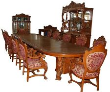 16-Pc. Heavily Carved Oak Winged Griffin Dining Set by R.J. Horner c. 1880 #7507