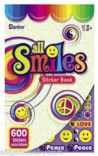600 Stickers Smiley Peace Love Rainbow Sticker Book 6 Sheets Kids Darice ABCraft