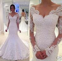 Long Sleeve Mermaid Lace Applique Wedding dress Bridal Wedding Gown White/Ivory