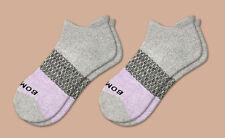2-Pack Grey Lavender Pink Tri-Color Bombas Men's Ankle Socks Size Medium