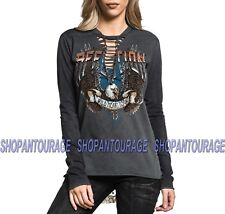 Affliction AC Eagle Rock AW19303 New Women`s Long Sleeve Graphic Fashion Top