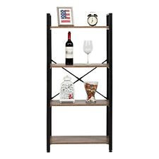New listing 4-Tier Storage Shelves Ladder Bookshelf with Metal Frame Black