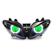 KT LED Angel Halo Eye HID Headlight Assembly for Yamaha YZF R1 2002 2003 Green