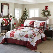 3 Piece Christmas Quilt Rustic Western Lodge Cabin Bedspread  Quilt Set Snow Man