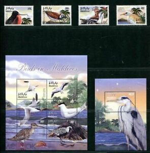 maldives 2004 birds water set+s/s+ klb MNH