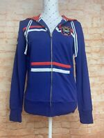 US POLO ASSN Women's Hoodie Size M Blue Red White Long Sleeve Zip Up