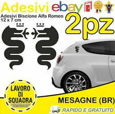 KIT 2 Adesivi Biscione ALFA ROMEO sticker MITO 147 159 GIULIA STELVIO NERO BLACK