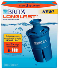 (6)Brita Longlast Replacement Filters for Pitchers Dispensers(3-2PKS)
