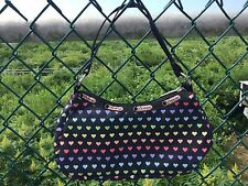 Le Sportsac Rainbow Hearts Black Purse Handbag Shoulder Bag ~ EUC