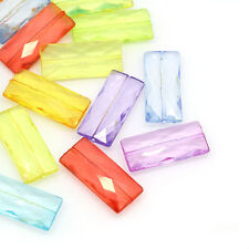 30PCs Acrylic Spacer Beads Rectangle Faceted Mixed 35mmx15.5mm