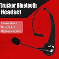 bluetooth 4,1 Headset Kabellos Kopfhörer mit Mikrofon für KFZ LKW Fahren Büro *