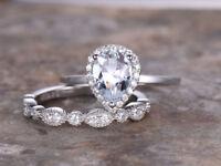 1.5ct Pear Cut Diamond Vintage Wedding Set Engagement Ring 14k White Gold Finish