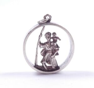 Vintage Silver Pendant St Christopher Travel Luck 1971 Hallmarked 9.3g