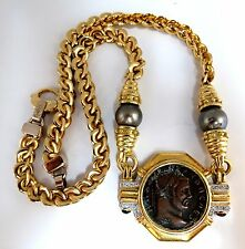 Ancient Athens Greek Coin Baraka Diamonds Necklace Vintage 14 / 18kt.