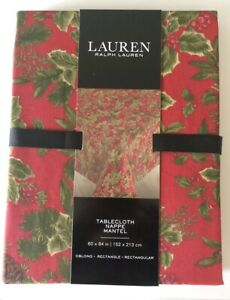 Ralph Lauren Birchmont Red Christmas Tablecloth Pinecone Holly Cotton 60x104