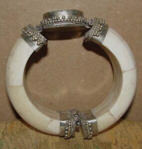 Afghanistan Kuchi Nomad Bangle Bracelet Cuff Armband Jewelry Stone Silver Antiqu