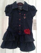 Guess Baby Girl Denim Polka Dot Two Piece Dress New With Tags Size 24 Mo