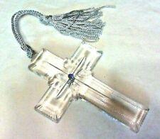 Lenox Pave Jewel Full Lead Crystal Cross & Sapphire Blue Gem , 1999 Germany Nib