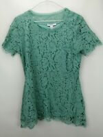 Isaac Mizrahi Floral Lace Short Sleeve Peplum Top Soft Jade S A277151