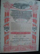 ACTION BELGIQUE SOCIETE BELGE APPAREILLAGE ELECTRIQUE ANDERLECHT  1928