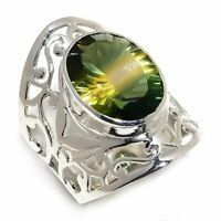 Bi-Color Tourmaline Natural Gemstone 925 Sterling Silver Ring Size 7.5 R-84