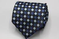 HUGO BOSS Silk Tie. Black and Blue Geometric.