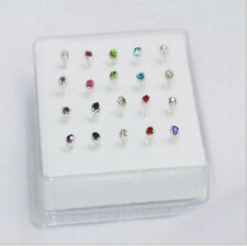 20PCS Solid Silver Mixed Crystal 2MM Claw Straight Bar Rod Nose Stud Wholesale