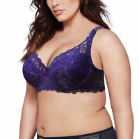Plus Size Women's Full Coverage Underwire Non Padded Lace Sheer Minimizer Bra EF