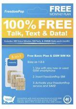 FreedomPop Free Basic Service LTE SIM Card Kit - 100% FREE TALK, TEXT & DATA !!!