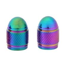 2 x NEO RAINBOW BULLET DOME SCHRADER VALVE CAP/DUST COVER  *UK SELLER*