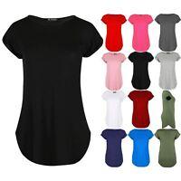 Plus Size Ladies Womens Curved Hem Jersey Plain Top Turn Up Cap Sleeve T Shirt