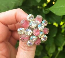 Coro Rhinestone Brooch, Pink Givre and Aurora Borealis AB Stones, 1950s
